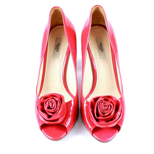 Prada flower embellished peep-toe pumps