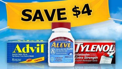$4 OFF any National Brand 100ct Pain Relief