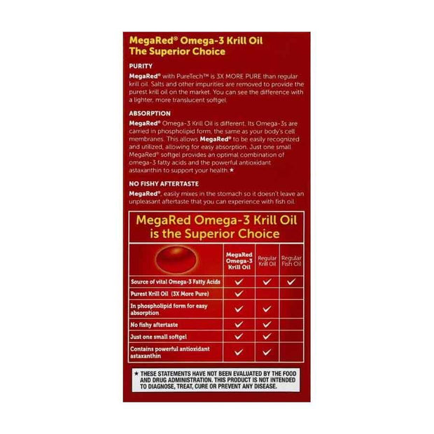MegaRed Superior Omega-3 Krill Oil 350mg Softgels