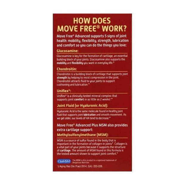 Move Free Joint Health Advanced Plus MSM Tablets