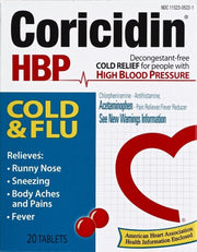 Coricidin HBP Cold + Flu Tablets 20 ct
