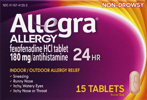 Allegra 24 Hour Allergy Relief Non-Drowsy 180mg Tablets