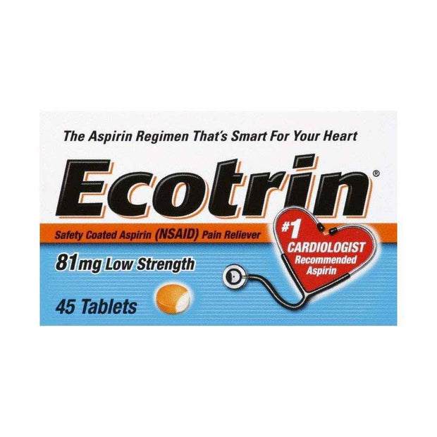 Ecotrin Pain Reliever Safety Coated Aspirin Low Strength 81mg Tablets