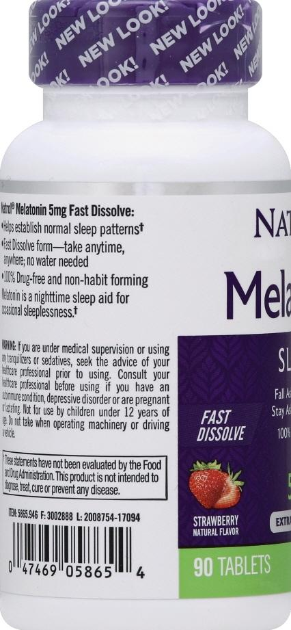 Natrol Melatonin 3mg Fast Dissolve Strawberry Tablets
