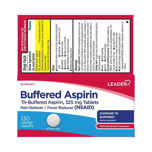 LEADER Tri-Buffered Aspirin 325mg Coated Tablets