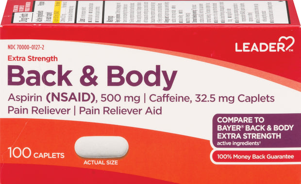LEADER Back & Body Extra Strength Aspirin 500mg-32.5mg Caplets