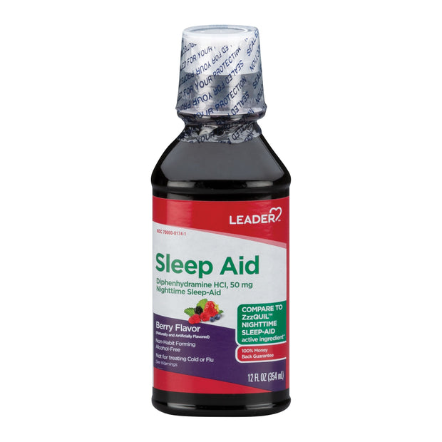 LEADER Nighttime Sleep Aid 50mg Berry Liquid