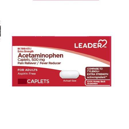 LEADER Acetaminophen Adult Extra Strength 500mg Caplets