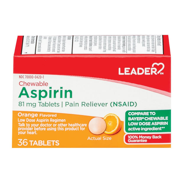 LEADER Aspirin Low Dose Orange 81mg Chewable Tablets
