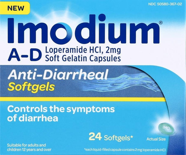 Imodium A-D Anti-Diarrheal 2mg Softgels 24 ct