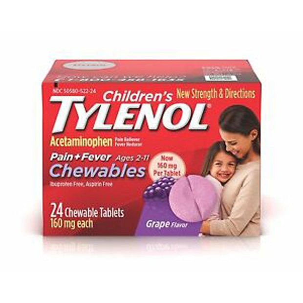 Tylenol Children's Fever Reducer & Pain Reliever Grape Chewable Tablets