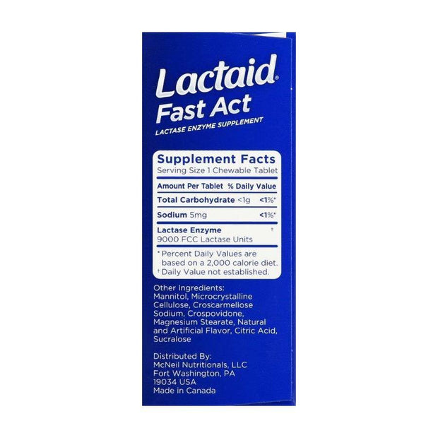 Lactaid Fast Act Lactase Supplement Chewable Tablets