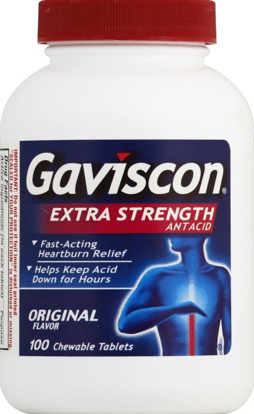 Gaviscon Antacid Extra Strength Original Chewable Tablets 100 ct