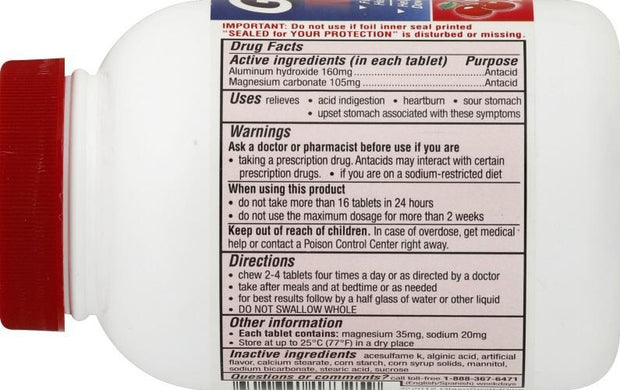 Gaviscon Antacid Extra Strength Cherry Chewable Tablets 100 ct