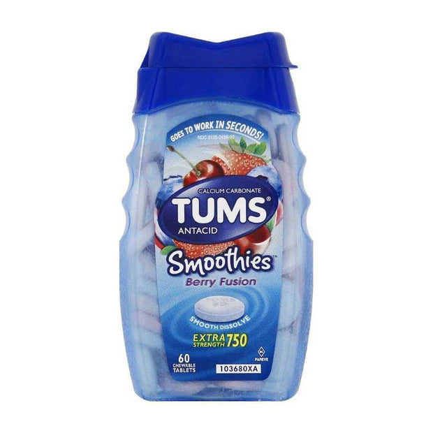 Tums Antacid Smoothies Chewables Berry Fusion 60 ct
