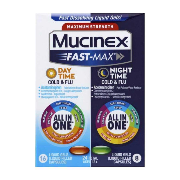 Mucinex Fast-Max Day Severe Cold/Night Cold & Flu Liquid Gels