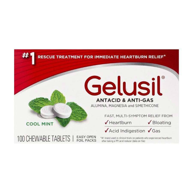 Gelusil Antacid Anti-Gas Cool Mint Chewable Tablets