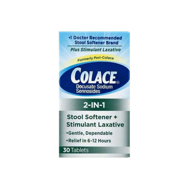Colace 2-In-1 Stool Softener & Stimulant Laxative Tablets