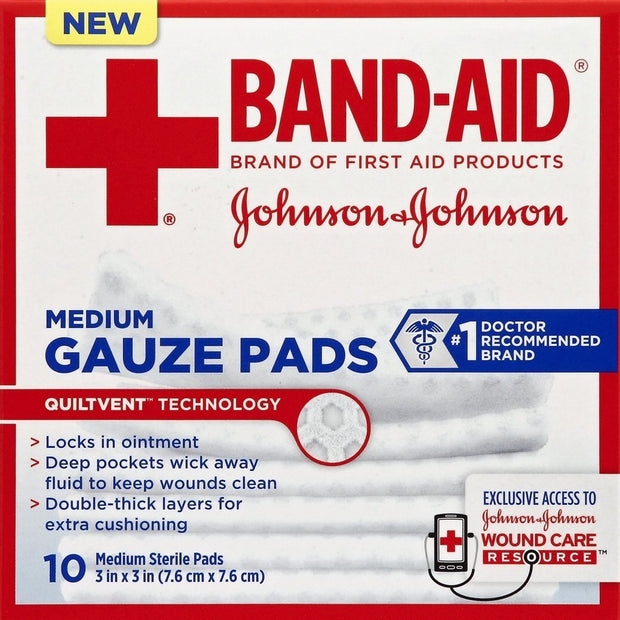Band-Aid Gauze Pads Sterile Medium 3 in. x 3 in. 10 ct