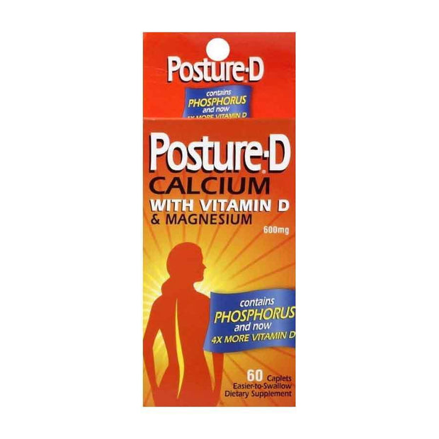 Posture-D Calcium Supplement + Vitamin D 600mg Caplets