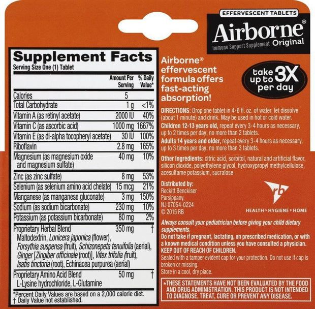 Airborne Immune Support Effervescent Tablets Zesty Orange 10 ct