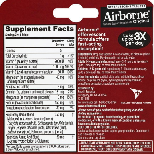 Airborne Immune Support Effervescent Tablets Very Berry 10 ct