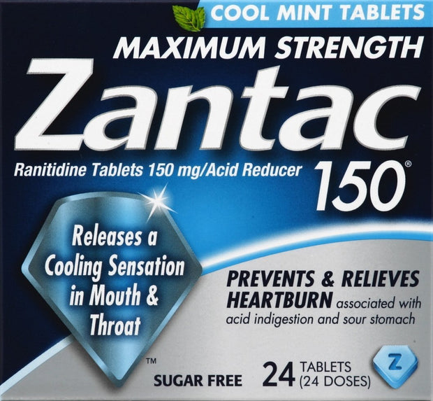 Zantac 150 Heartburn Relief Max Strength Cool Mint Tablets