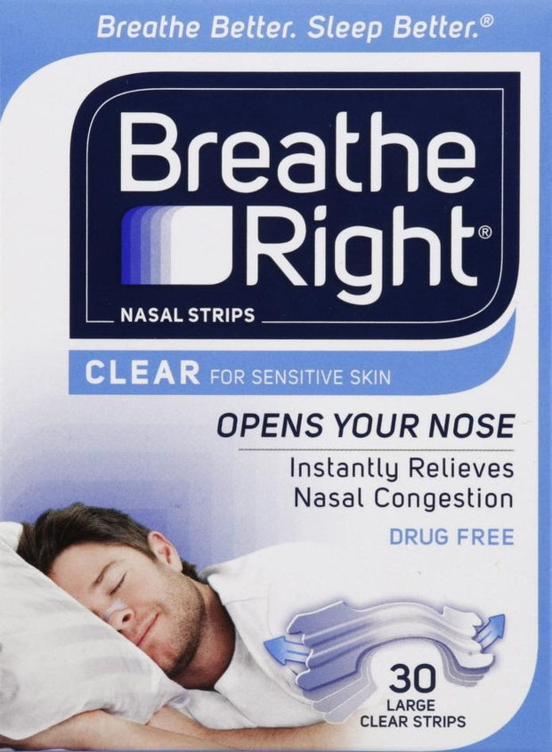 Breathe Right Clear Large Nasal Strips 30 ct