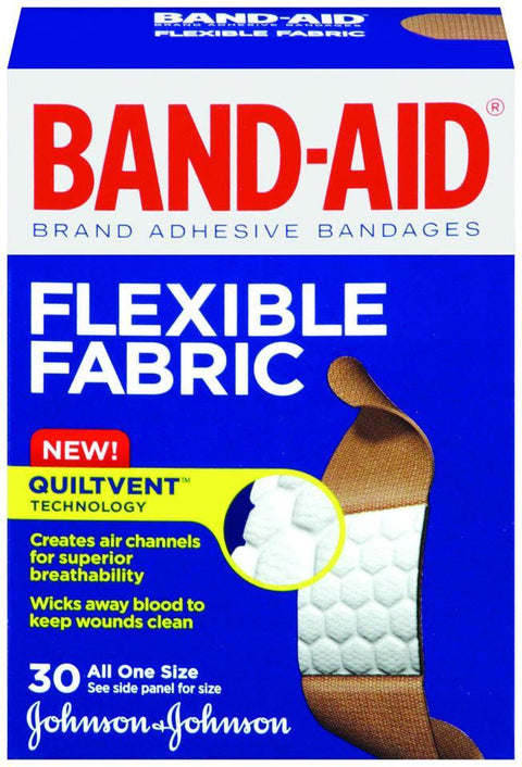 Band-Aid Flexible Fabric Adhesive Bandages One Size 30 ct