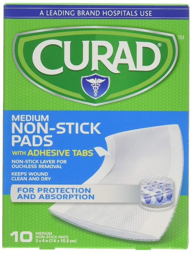 Curad Non-Stick Pads with Adhesive Tabs Medium 3 in. x 4 in. 10 ct