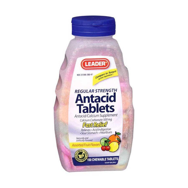LEADER Antacid Regular Strength Assorted Fruit Chewable Tablets 150 ct
