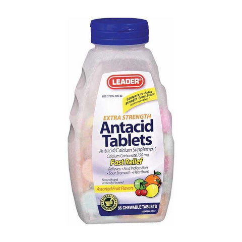 LEADER Antacid Extra Strength Chewable Tablets Assorted Fruit 96 ct