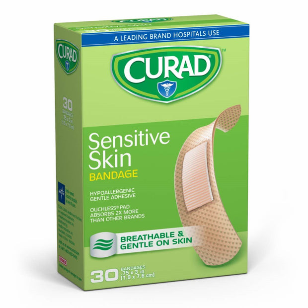 Curad Sensitive Skin Adhesive Bandages One Size 30 ct