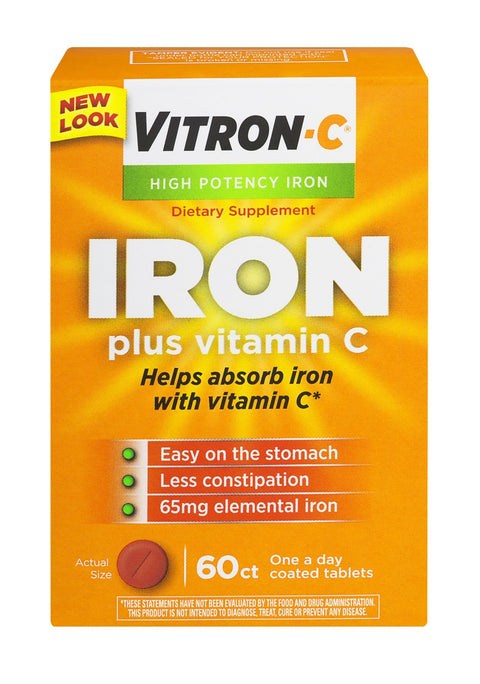 Vitron-C Iron Supplement Plus Vitamin C Coated Tablets 60 ct