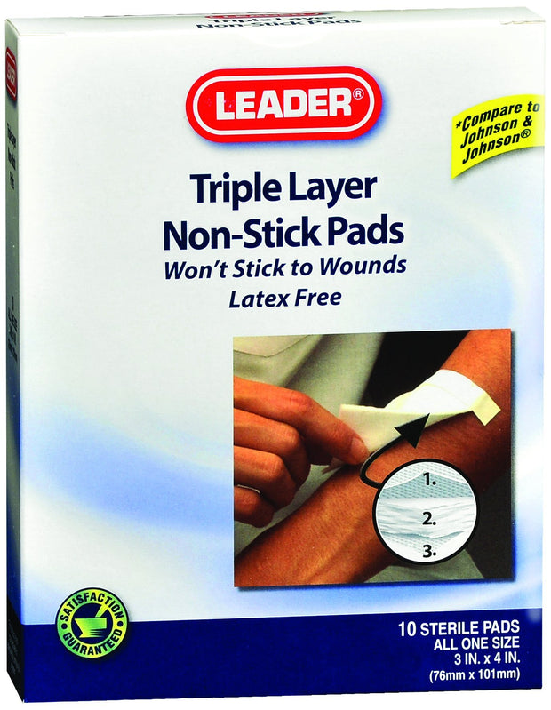 LEADER Non-Stick Pads 3 in. x 4 in. 10 ct