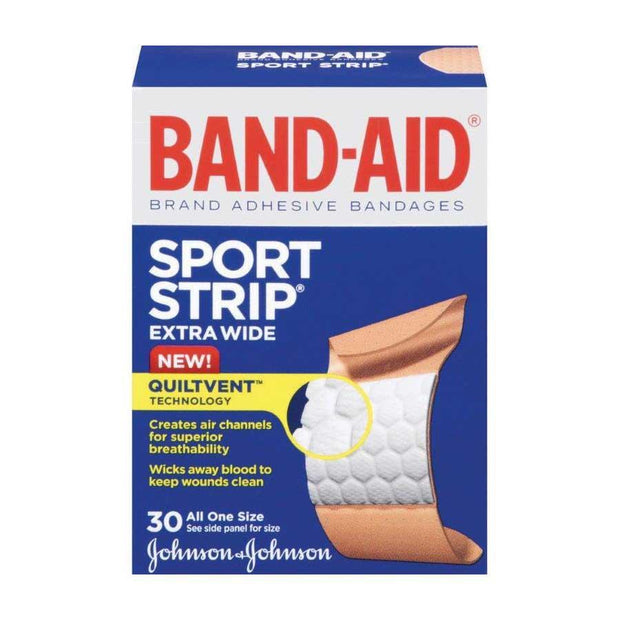 Band-Aid Sport Strip Adhesive Bandages Extra Wide 30 ct