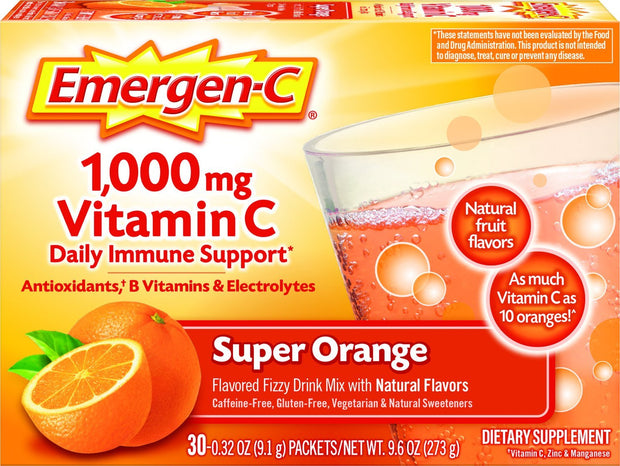 Emergen-C 1000mg Vitamin C Dietary Supplement Fizzy Drink Mix Packets Super Orange 30 ct