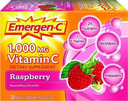 Emergen-C 1000mg Vitamin C Dietary Supplement Fizzy Drink Mix Packets Raspberry 30 ct