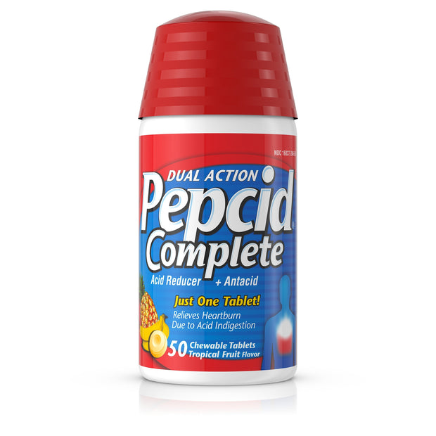Pepcid Complete Dual Action Tropical Fruit Chewable Tablets 50 ct