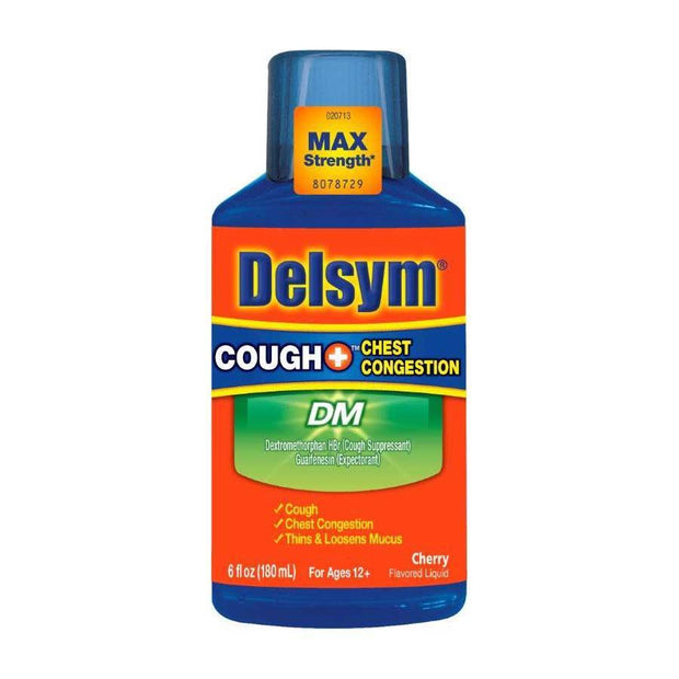 Delsym Adult DM Cough + Chest Congestion Cherry Liquid 6 oz