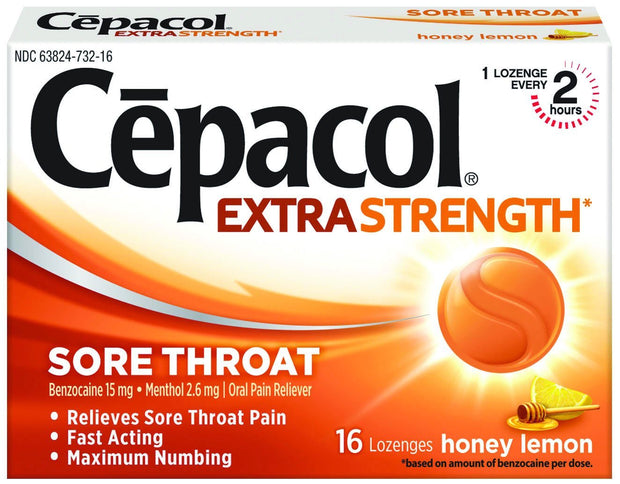 Cepacol Sore Throat Lozenges Honey Lemon 16 ct