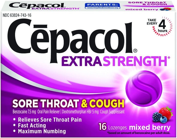 Cepacol Sore Throat Lozenges Mixed Berry 16 ct