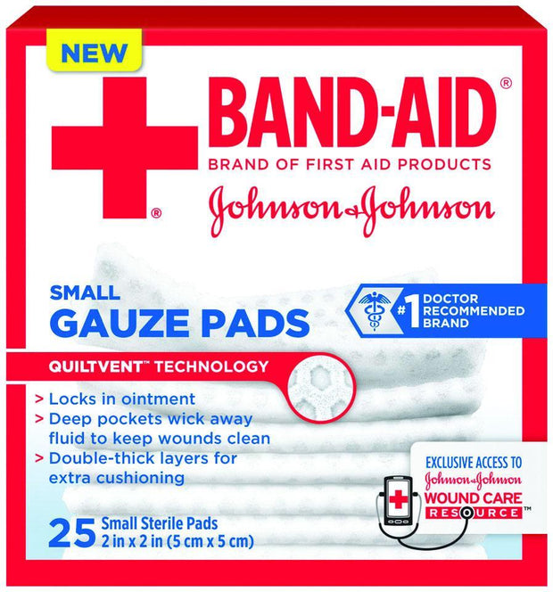 Band-Aid Gauze Pads Sterile Small 2 in. x 2 in. 25 ct