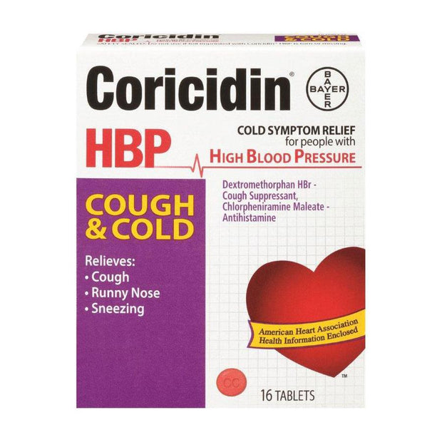 Coricidin HBP Cough + Cold Tablets 16 ct