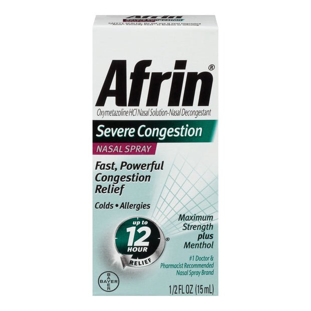 Afrin 12 Hour Severe Congestion Max Strength Nasal Spray 0.50 oz