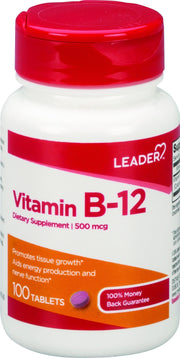 LEADER Vitamin B-12 500mcg Tablets 100 ct