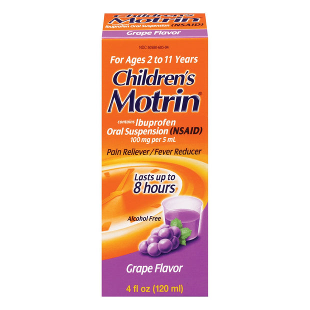 Children's Motrin Pain Reliever/Fever Reducer Ibuprofen Grape Oral Suspension 4 oz