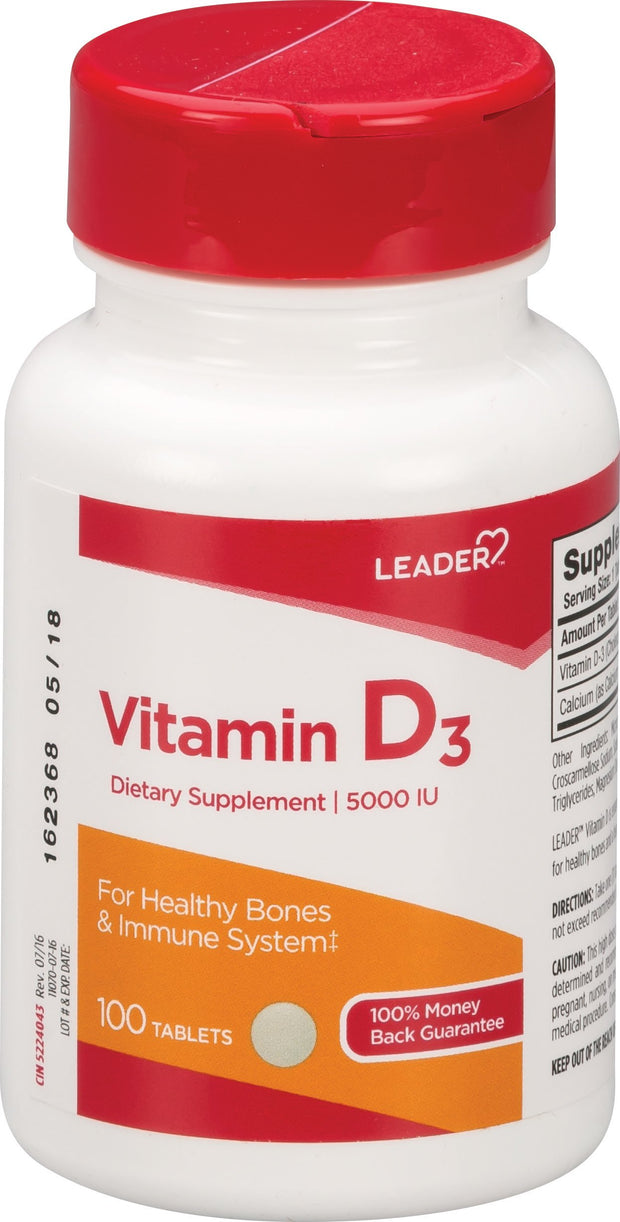 LEADER Vitamin D3 5000IU Tablets 100 ct