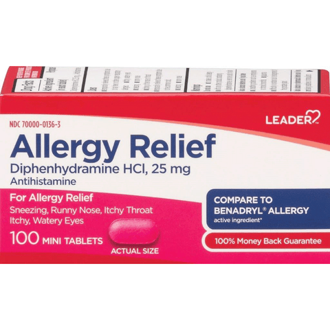 LEADER Allergy Relief 25mg Mini Tablets