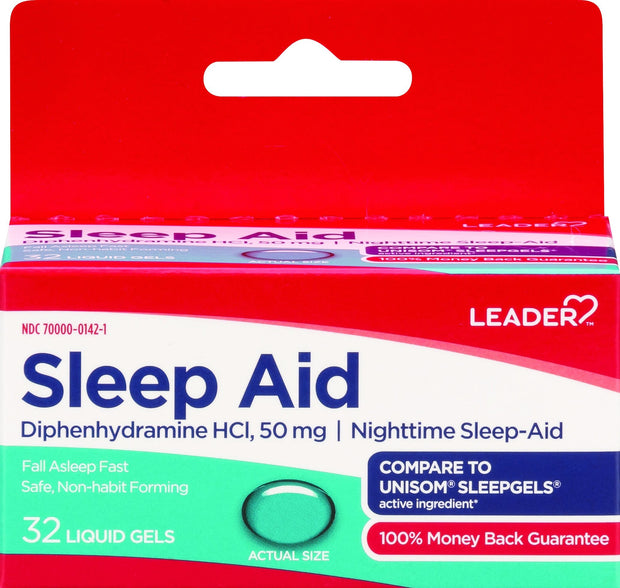 LEADER Sleep Aid 50mg Liquid Gels 32 ct